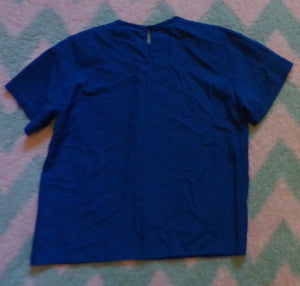 PRUSSIAN BLUE 1980's BLOUSE simple tee cut M (H5)