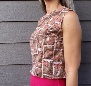 MIDCENTURY COTTON SHELL button-back blouse 1960's S xs