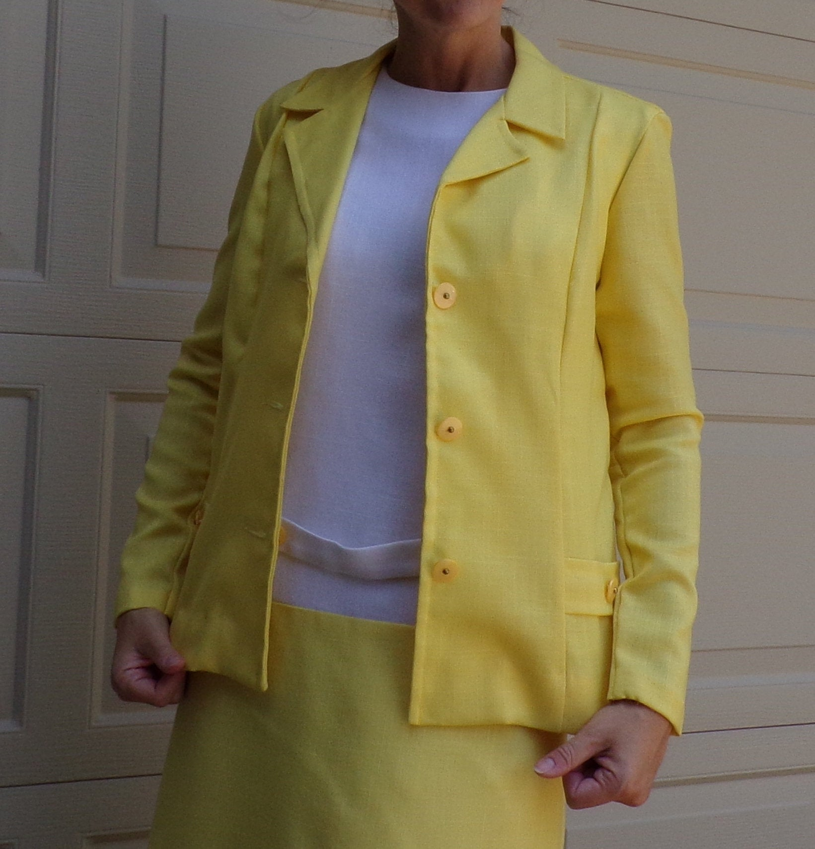 1960's YELLOW WHITE DRESS shift 60's with jacket S (A1)