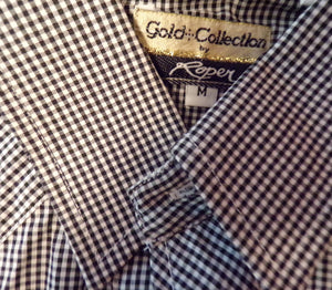 VINTAGE gold collection by ROPER western SHIRT black gingham M (B7)