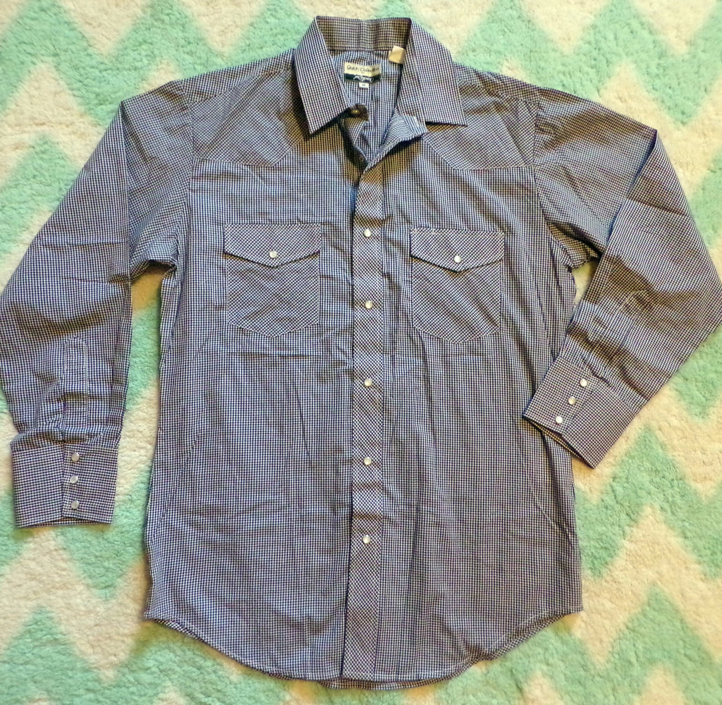 vintage ROPER gold collection WESTERN SHIRT navy blue gingham M (B7)