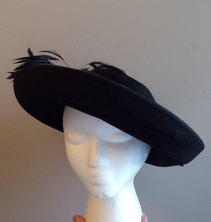 BLACK TILT HAT feather plume 1980's dramatic jody g for sylvia