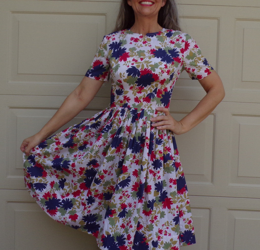 1950's FLORAL DRESS full SKIRT 50's xs S (G6)