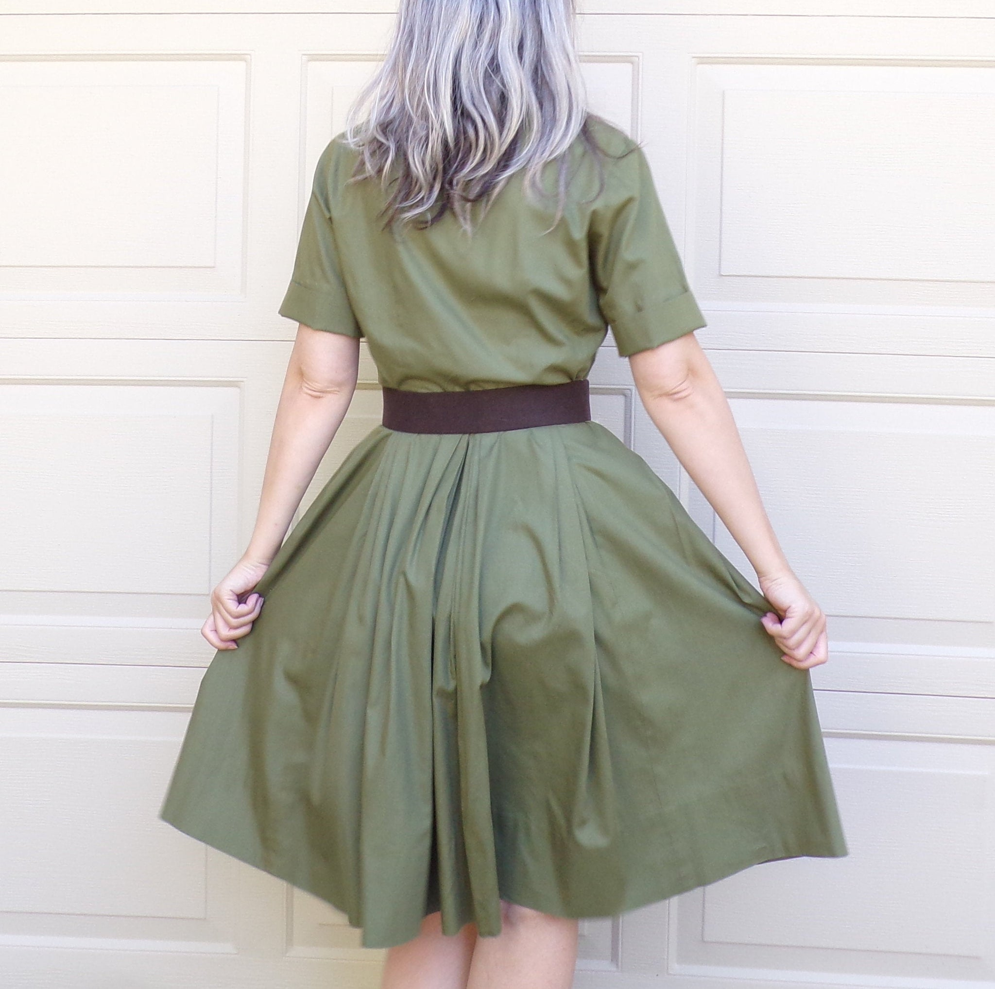 OLIVE GREEN SHIRTWAIST dress 1950's 1960's full skirt S (A8)
