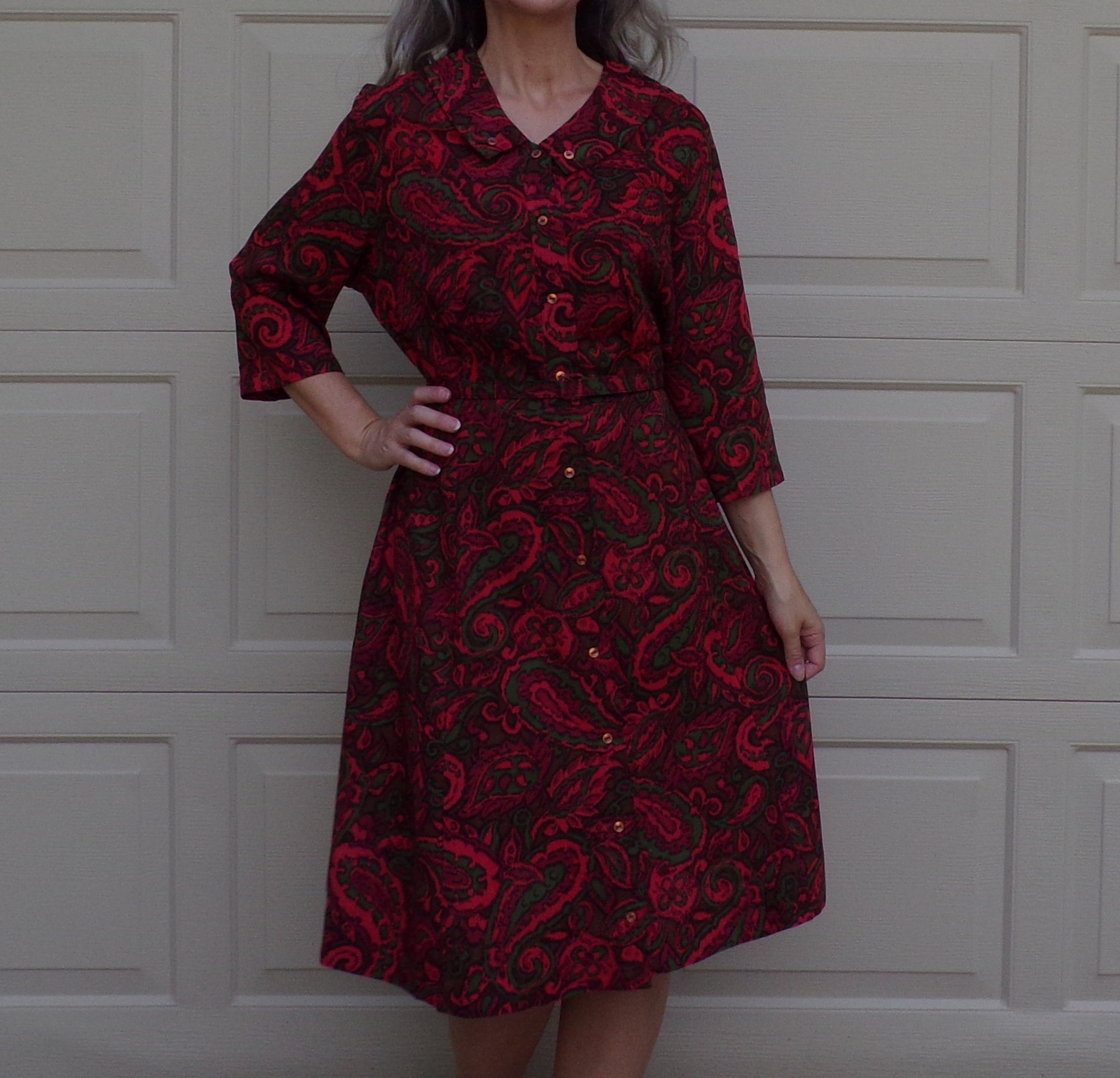 MIDCENTURY jeweltone BELTED DRESS volup 2X (F4)