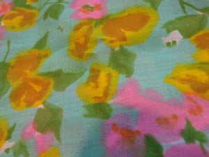 carol brent BRIGHT FLORAL BLOUSE button back shell top L (G3)