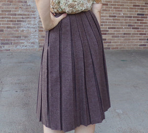 MAYFAIR WOOL SKIRT pleated mid length brown S (G4)