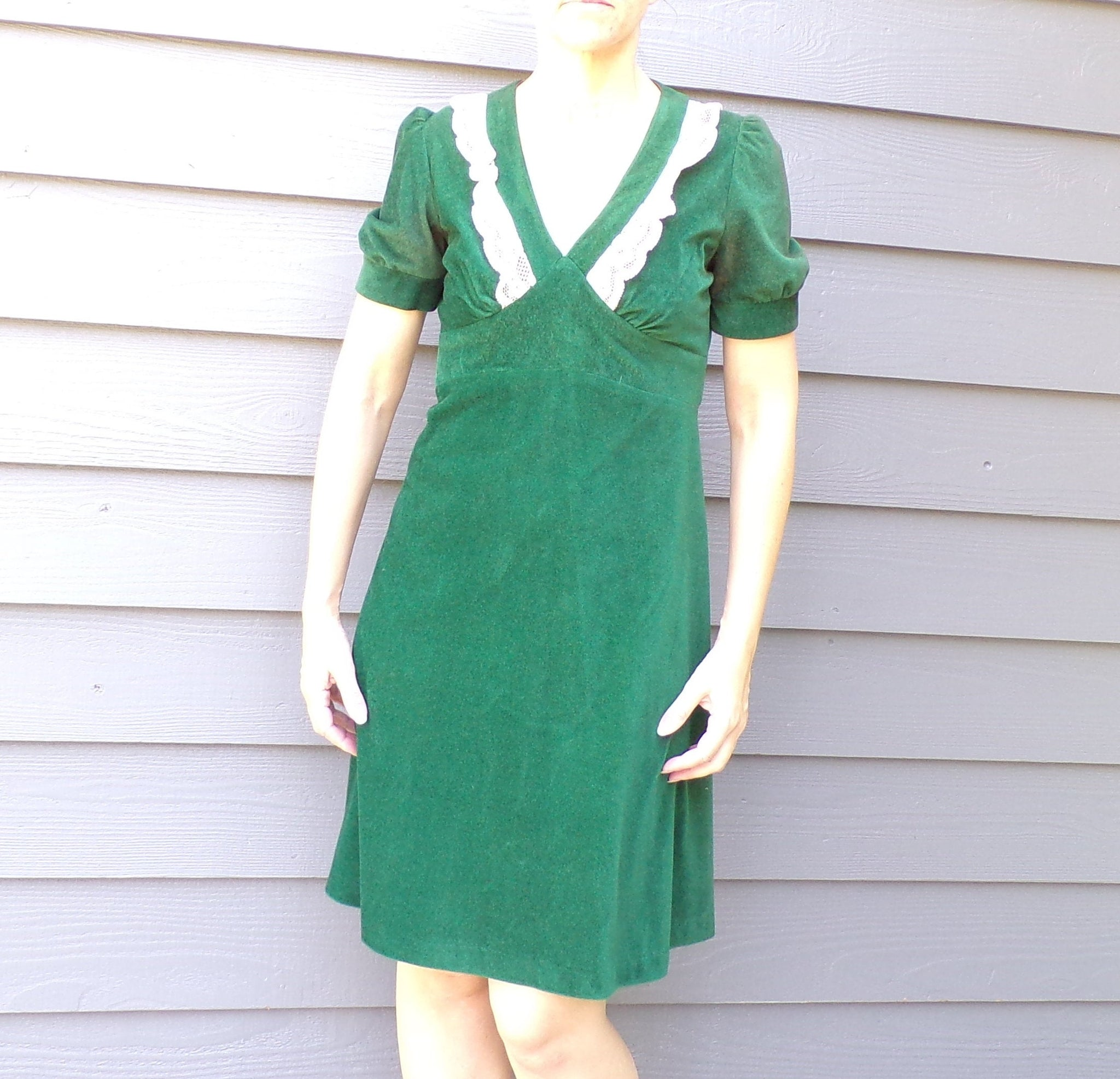 1970's does 1930's DARK GREEN DRESS xs S 30's style 70's (E9)