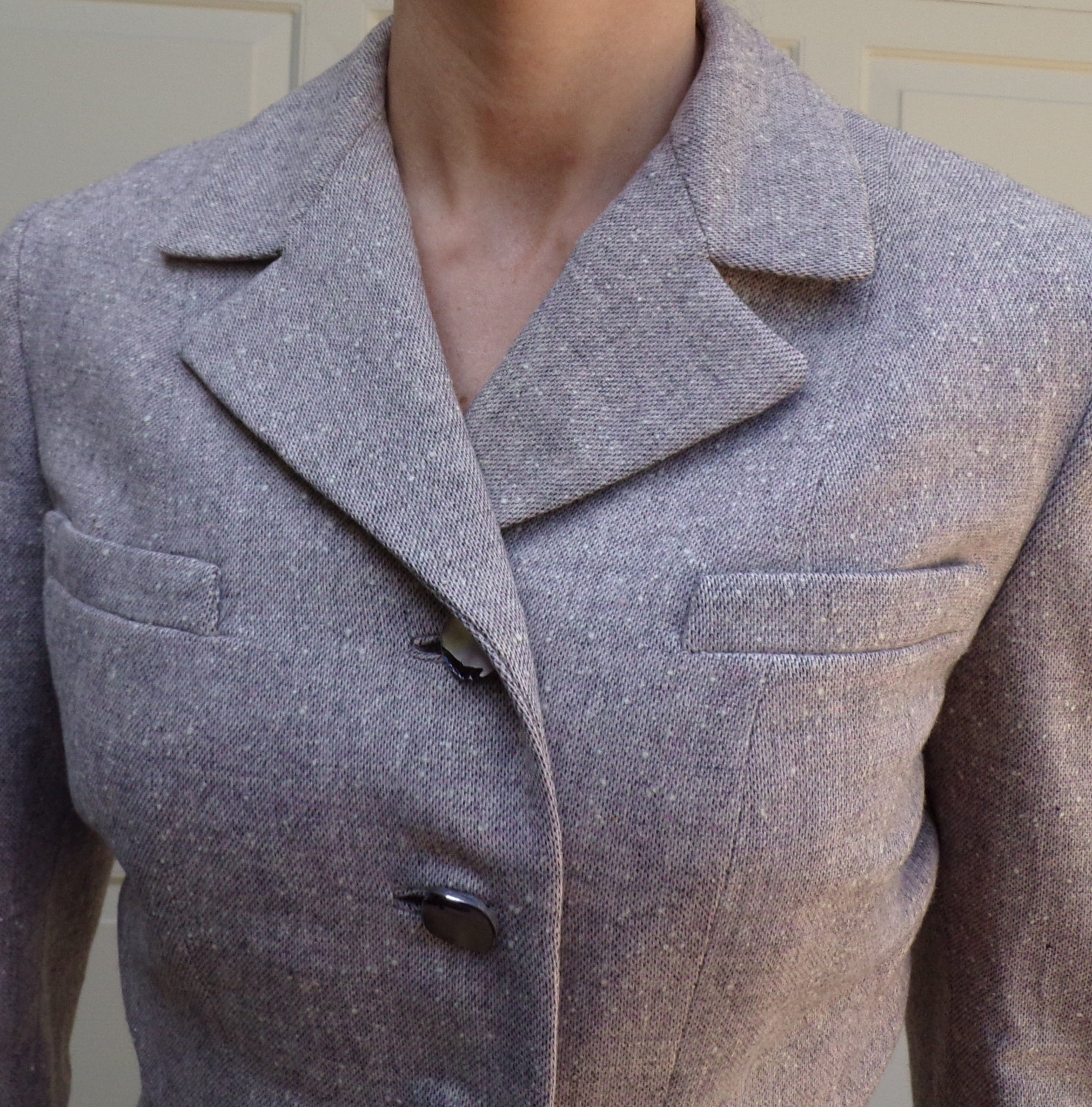 1940's TAN TWEED JACKET 40's fitted blazer S (B3)