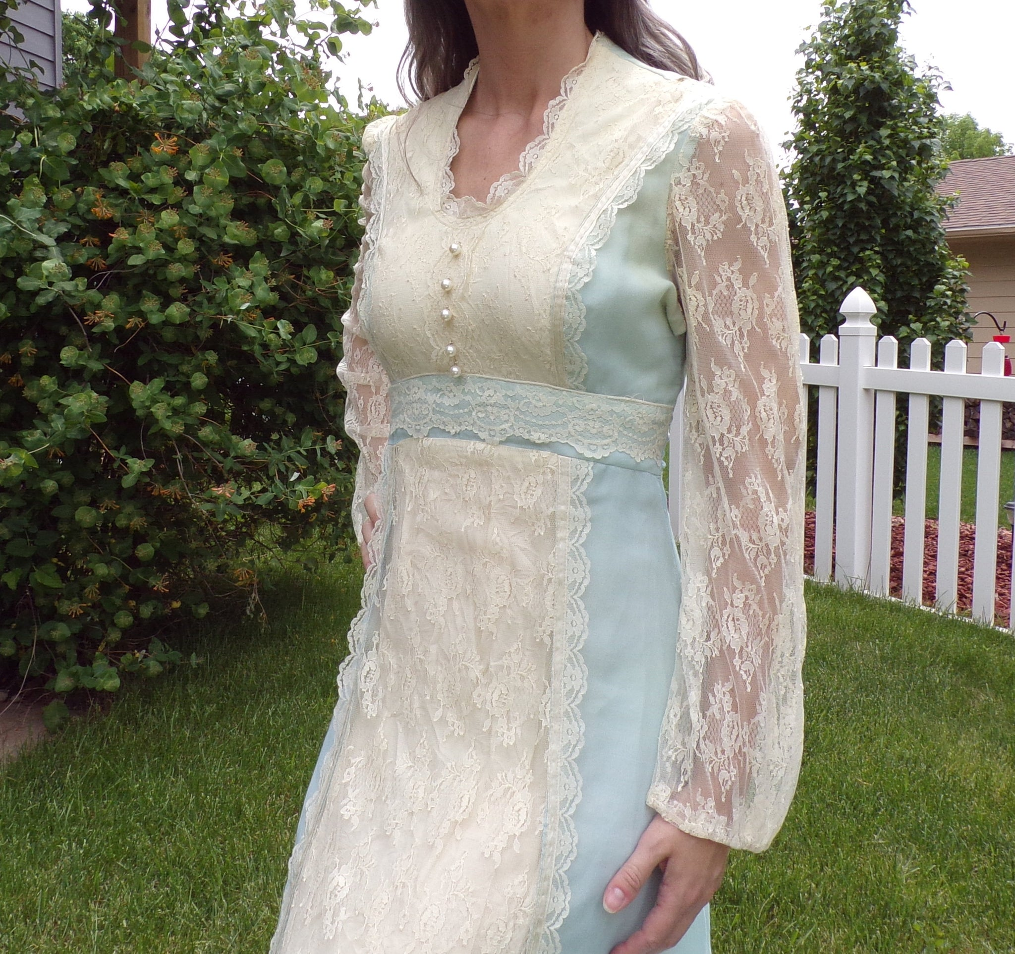 LIGHT BLUE boho maxi DRESS voile and lace S (G3)