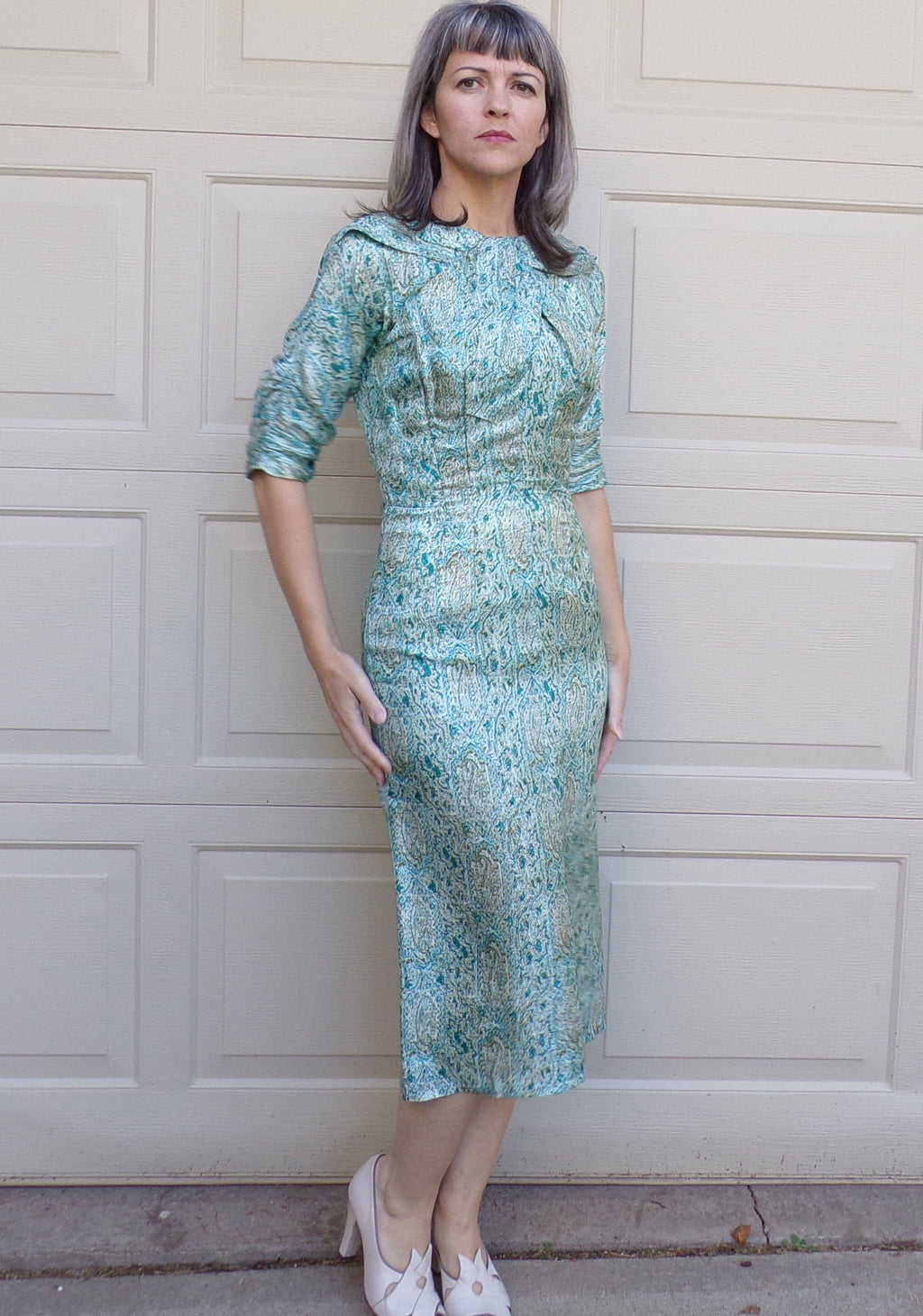 1950's ABE SCHRADER silk wiggle DRESS aqua S 50's (K1)