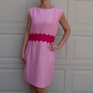 PINK 1960's SHEATH DRESS scalloped waist 60's M (A4)