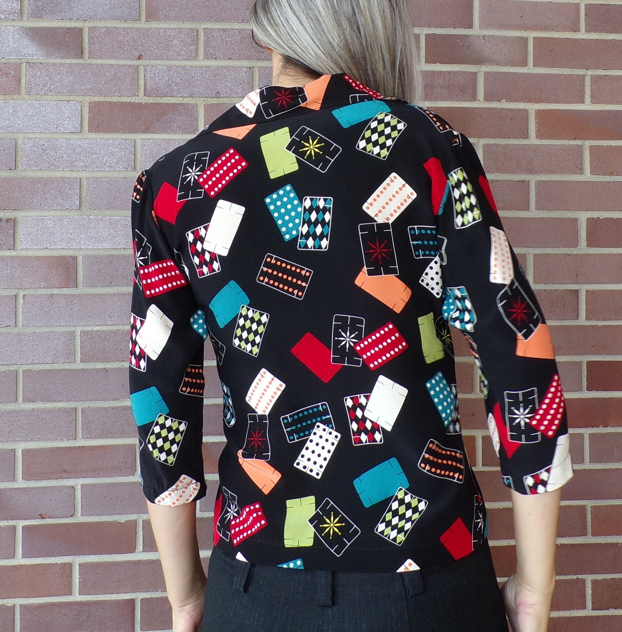 NOVELTY PRINT BLOUSE playing card 1990's swing xs S (B1)