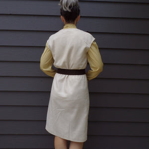 linen-look VINTAGE JUMPER DRESS M (B2)