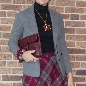 BURGUNDY LEATHER CLUTCH vintage 70's bag classy classic (F3)