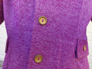 HEATHERED PURPLE knit JACKET jersey blazer 60's 70's S (H4)