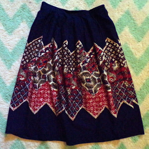 FABULOUS NOVELTY PRINT boho cotton midi skirt M navy (B6)