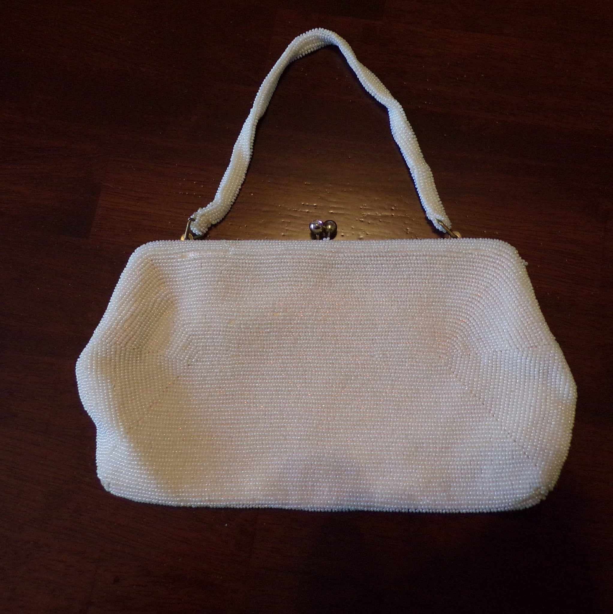 VINTAGE WEDDING PURSE 1950's 50's beaded clutch bag (J3)