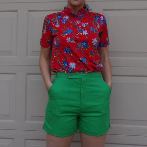 HIGH WAISTED SHORTS true green 1970's 70's S (D2)
