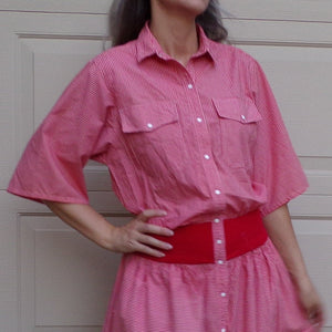 red gingham LIZ CLAIBORNE 1980's 80's dress slouch M (B1)