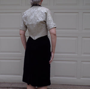 BLACK VELVET DRESS with ivory brocade jacket S (B1)