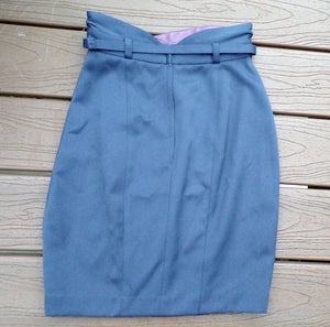 1980's does 1940's GRAY PENCIL SKIRT sexy xs (A8)