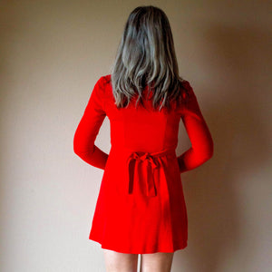 RED MOD MINI dress patty o'neil S (F3)