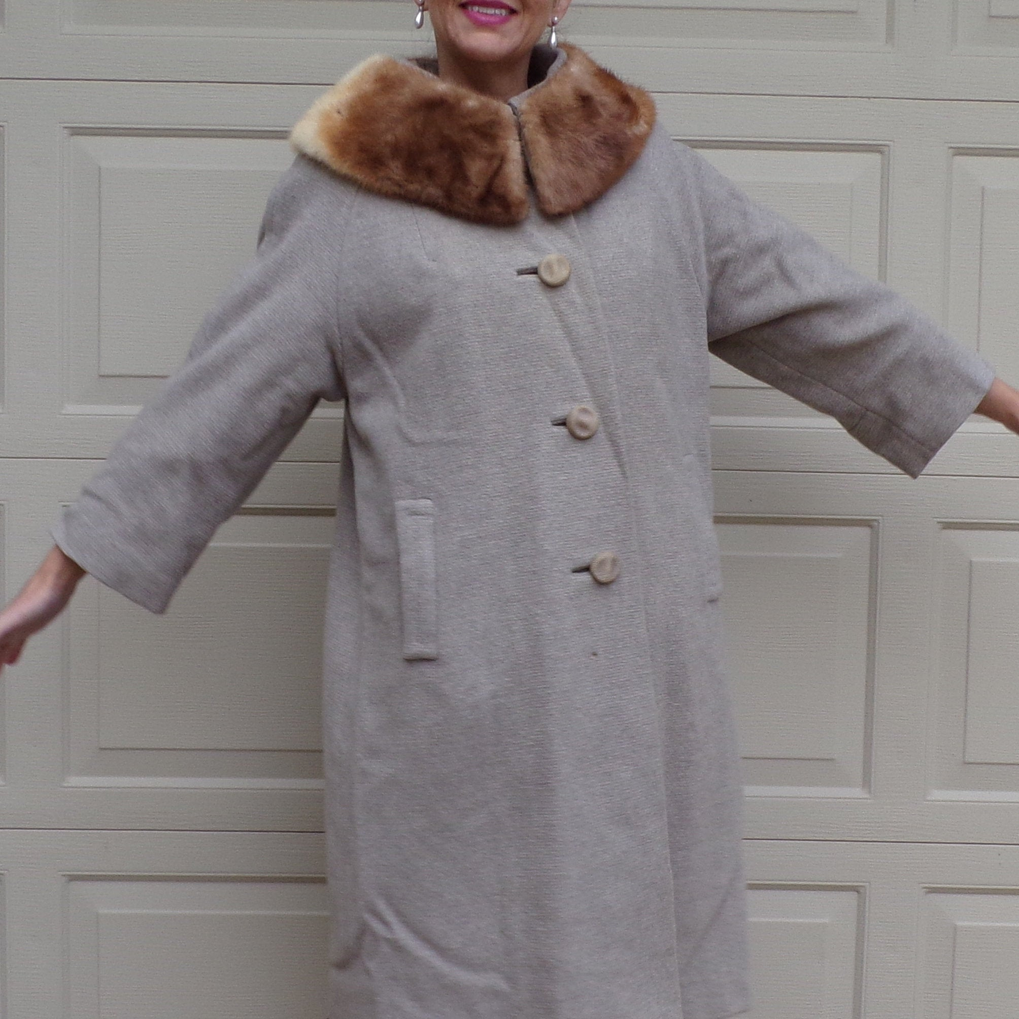 1960's WOOL COAT with FUR collar swing M