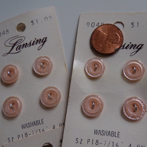 LOT OF 16 lansing BUTTONS 7/16 light pink on card