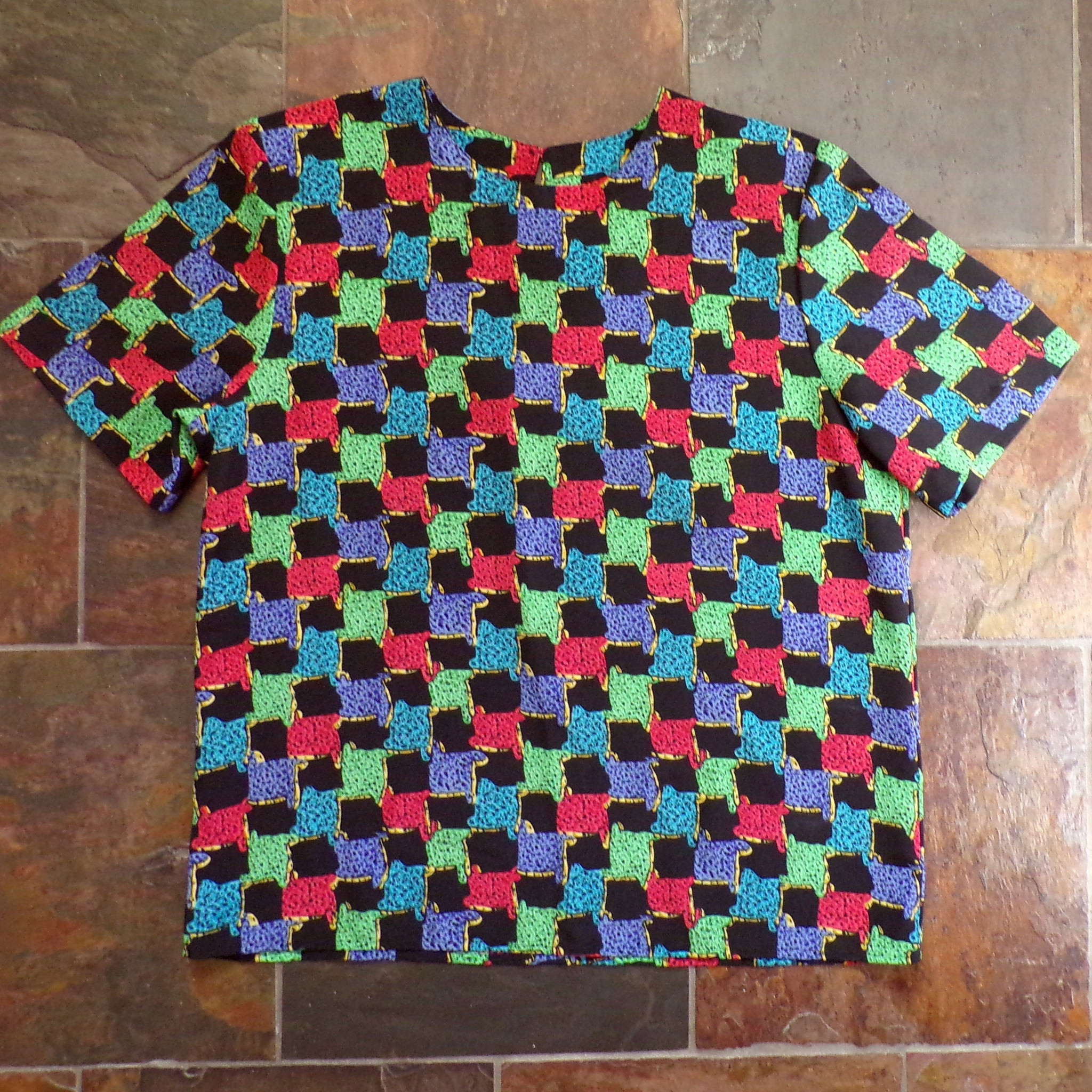 1980's COLORFUL POPOVER BLOUSE top 80's M (G3)
