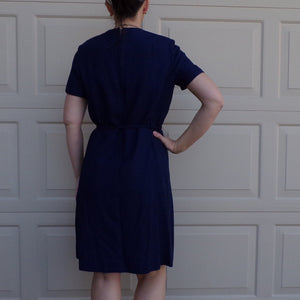 1960's NAVY DRESS SET with belt and jacket 60's M (B4)