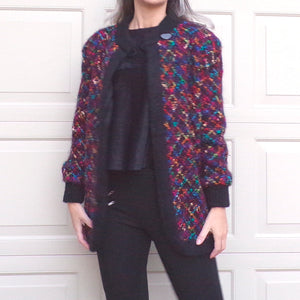 1980's JEWELTONE BOUCLE JACKET 80's coat S M (G10)