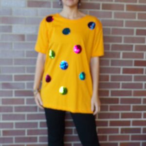 I. B. DIFFUSION 1990's golden yellow TEE sequin polka dots S M (H3)