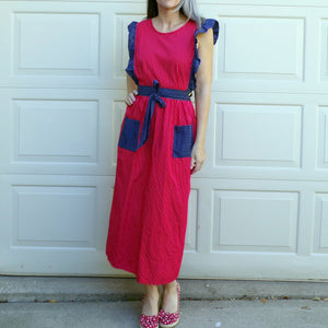VINTAGE APRON DRESS mixed pattern maxi S (E3)