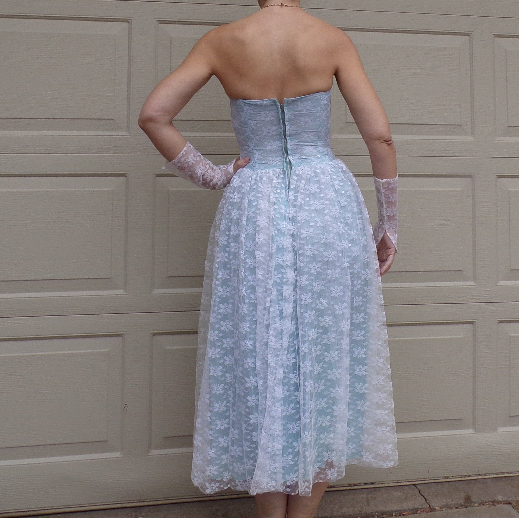 1950's STRAPLESS PROM DRESS 50's cupcake formal party S xs (D1)