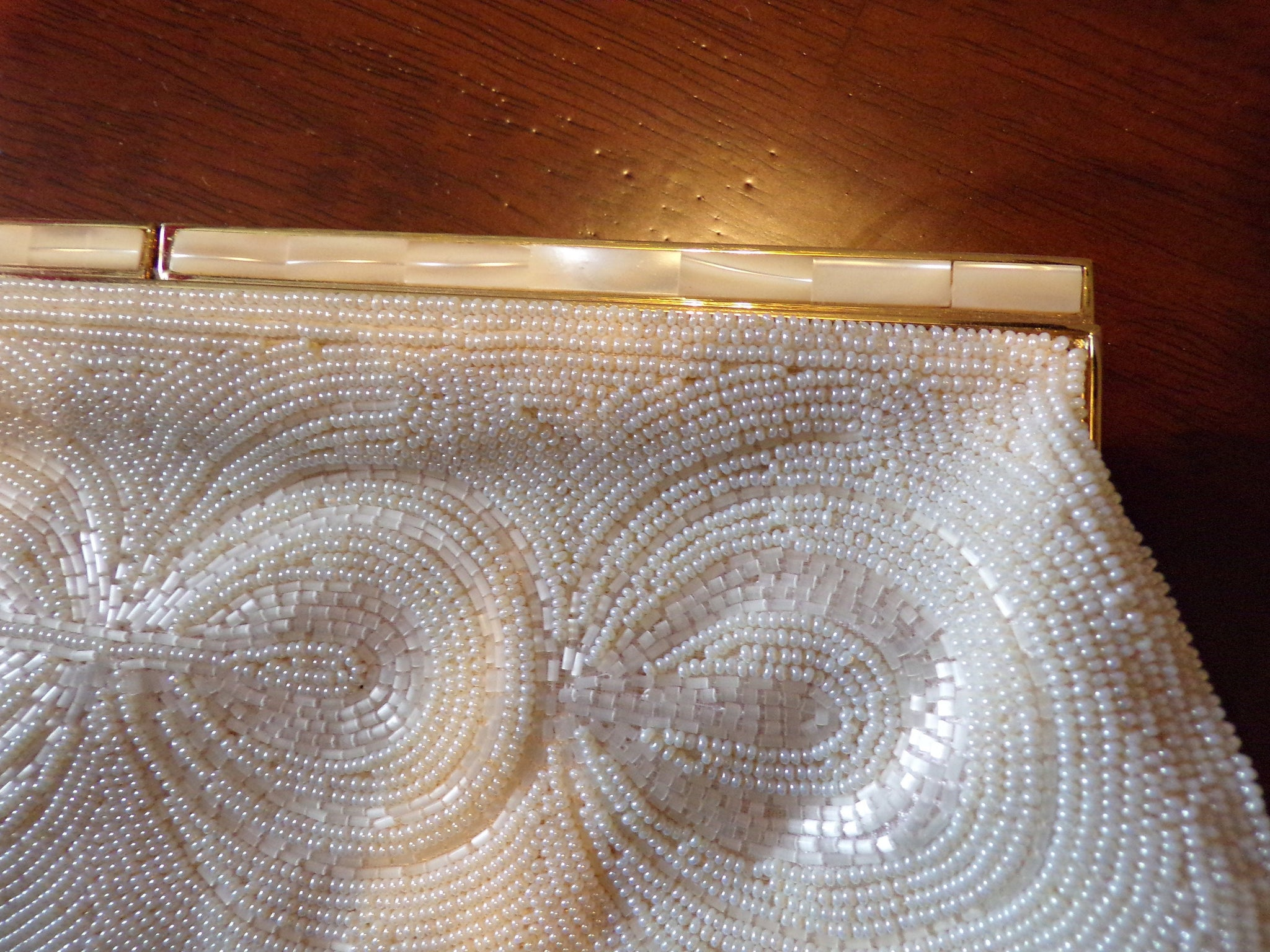 1950's BEADED CLUTCH PURSE wedding bridal 50's walborg (F5)