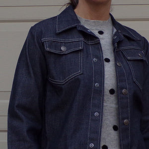 DARK DENIM JACKET toughskins jeans boys L womens S (E5)