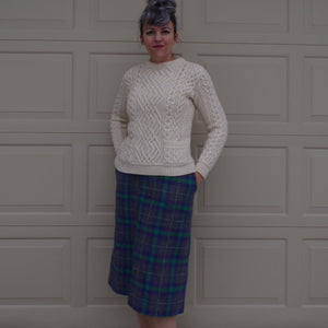 CLASSIC PLAID SKIRT straight cut purple green gray S M (H9)
