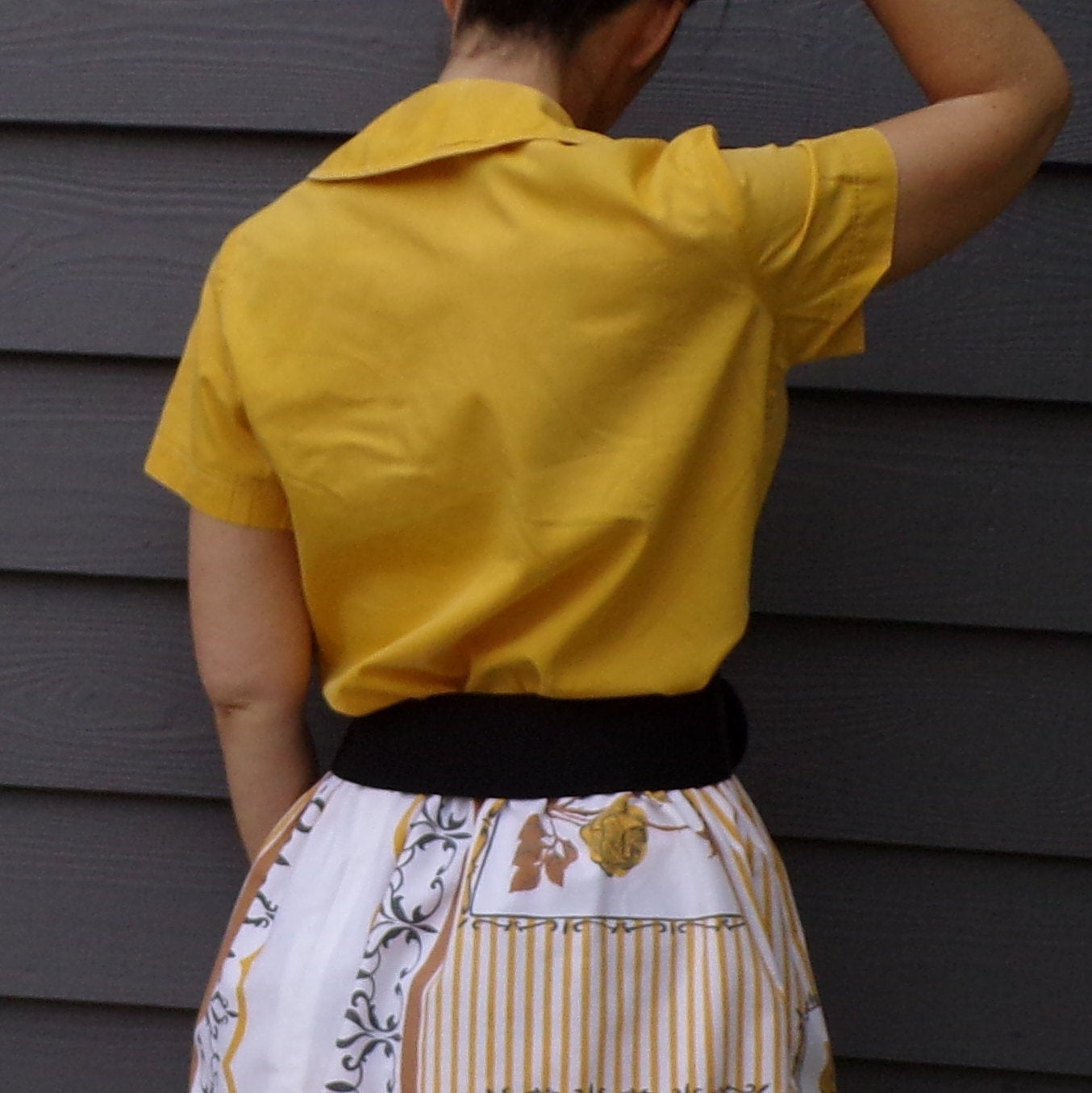 YELLOW 1950's COTTON BLOUSE M 50's (H9)