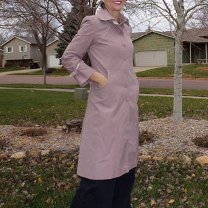 1980's FITTED MAUVE COAT spring fall 80's blush xs S petite (B4)