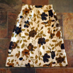 1980's THAI SILK wrap SKIRT floral 80's S (G1)