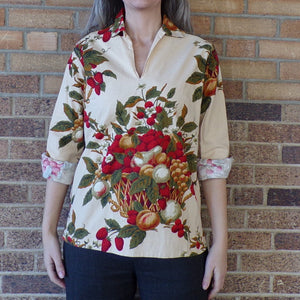 STRAWBERRY PRINT TUNIC lady hathaway cotton blouse M (E2)