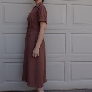 manford UTILITARIAN DAY DRESS brown 1940's 40's workwear style M L (K3)