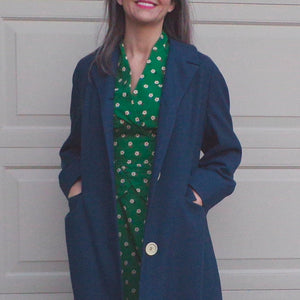 SLATE BLUE light OVERCOAT coat S M (C9)