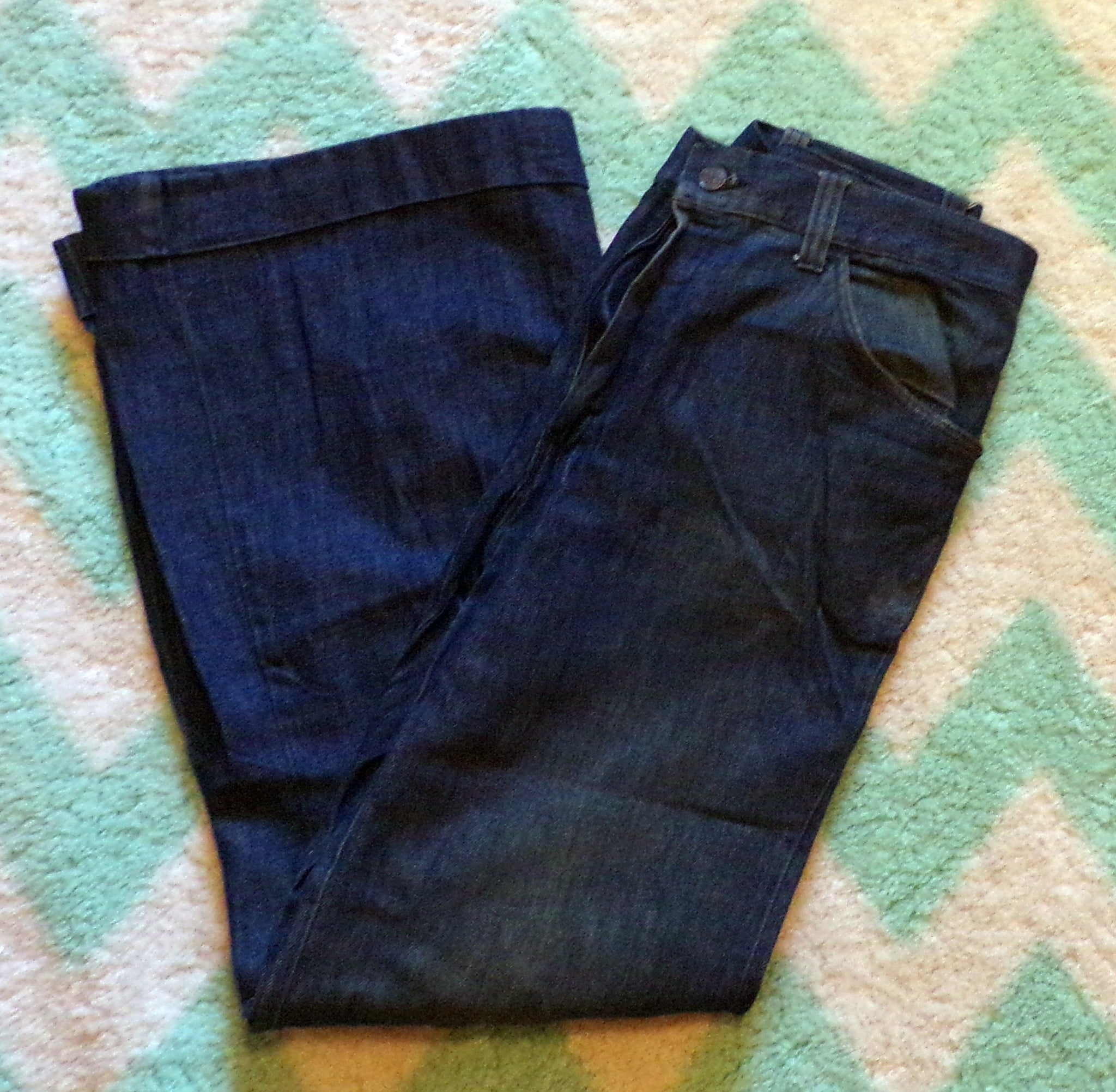 1970's WIDE LEG work JEANS cuffed M 70's (E3)