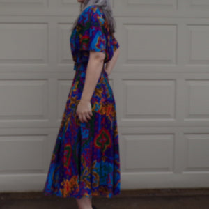 colorful 1980's CAROL ANDERSON DRESS with pockets 80's M L (B6)