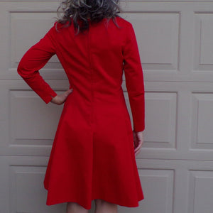bright RED 1960's SATEEN fit and flare DRESS 60's M 30 waist (F2)