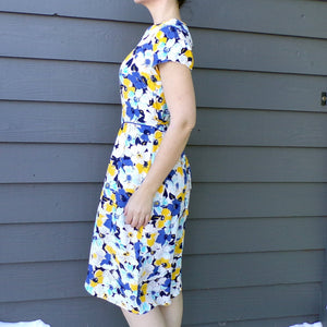 1980's does 1940's FLORAL RAYON DRESS S (F1)
