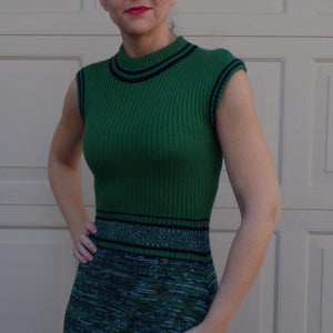 SLEEVELESS KNIT DRESS vintage washable fitted 70's 1970's S (G3)