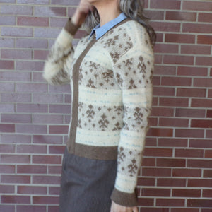 1960's MOHAIR BLEND CARDIGAN zip front sweater 60's S (F3)